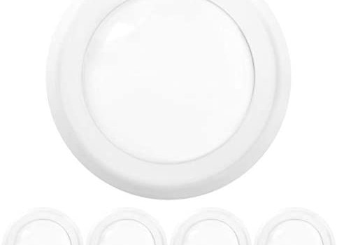 Sunco Lighting 4 Pack 5 Inch / 6 Inch Flush Mount Disk LED Downlight, 15W=100W, 5000K Daylight, 1050LM, Dimmable, Hardwire 4/6″ Junction Box, Recessed Retrofit Ceiling Fixture