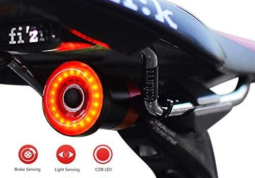Nkomax Smart Bike Tail Light Ultra Bright, Bike Light Rechargeable Auto On/Off, IPX6 Waterproof LED Bicycle Lights, High Intensity Rear Accessories Fits Any Road Bikes