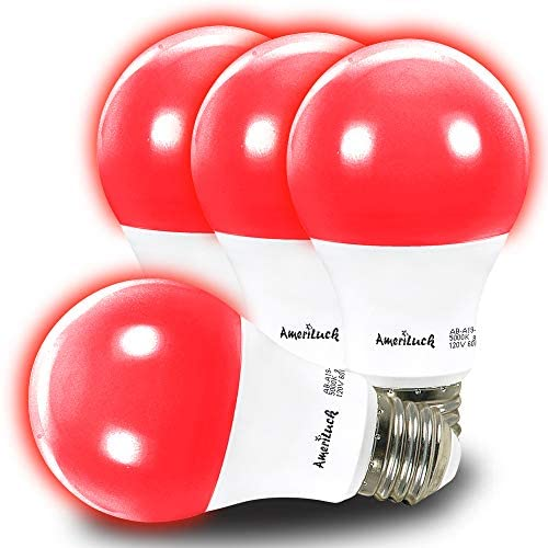 AmeriLuck Red Colored Light A19 LED Bulb, 60W Equivalent (7W), E26 Medium Scew Base, Pack of 4