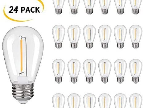 Plastic Shatterproof & Waterproof S14 Replacement LED Light Bulbs –1W Equivalent to 10W, White Warm 2200K Outdoor String Lights Vintage LED Filament Bulb, E26 Base Edison LED Light Bulbs (24 Pack)