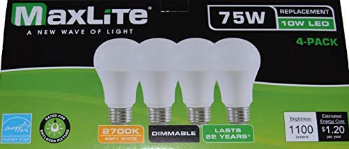 MaxLite Enclosed Rated Soft White LED A19 Light Bulbs (75W, Pack of 4)
