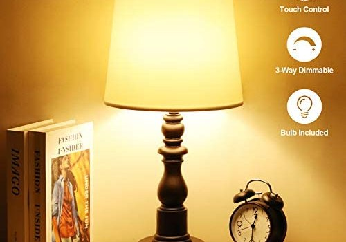 Zermurd Touch Control Bedside Lamp, 3 Way Dimmable Modern Nightstand Lamp with Dual USB Ports White Shade Brown Resin Base Ambient Light for Bedroom Living Room Guest Room, A19 7W LED Bulb Included