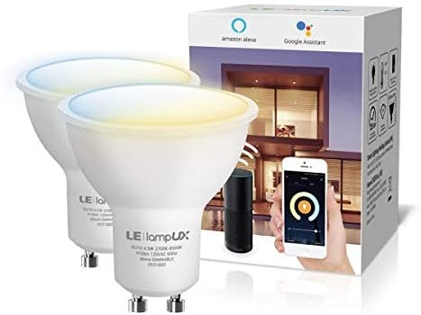 GU10 WiFi Smart Light Bulbs, Works with Alexa & Google Home, LED Track Light Bulb, Dimmable with App Control, Tunable White Warm to Daylight, 50W Halogen Equivalent, No Hub Required, 2 Pack