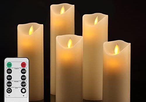 Vinkor Flameless Candles Battery Operated Candles Set Decorative Flameless Candles 4″ 5″ 6″ 7″ 8″ Classic Real Wax Pillar with Moving LED Flame & 10-Key Remote Control 2/4/6/8 Hours Timer