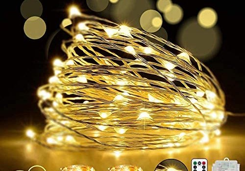 LED fairy String Lights with Remote Control – 2 Set 100 LED 33ft/10m Micro Silver Wire Indoor Battery Operated Firefly String Lights for Garden Home Party Wedding Festival Decorations(Warm White)