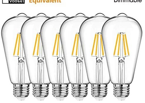 Voosei Dimmable LED Edison Bulb 6W, 60 Watt Equivalent, ST64 Antique LED Filament Bulbs, E26 Medium Base, Vintage Incandescent bulb, 4000K Daylight white, Old Fashion Decorative Clear Glass, pack of 6