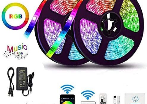 WERSEON LED Strip Lights Kit, Room led Lights Waterproof 32.8ft 5050 RGB 300led Light Strips Compatible with Alexa Google Home, Light Strip Kits Music Sync for Room TV Kitchen Home Party
