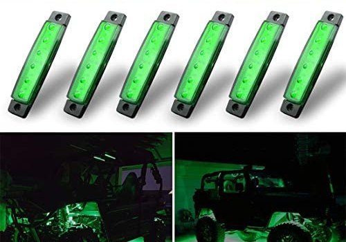 Botepon 6Pcs Led Rock Lights, Strip Lights, Wheel Well Lights, Led Underglow Kit for Golf Cart, Jeep Wrangler, RZR, Offroad, F150, F250, Snowmobile (Green)