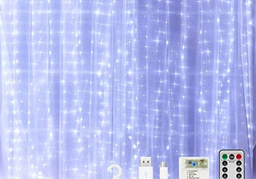 Curtain String Lights for Bedroom Twinkle – 300 Led Fairy String Lights Battery Operated or USB Powered, 9.8×9.8ft Window Curtain Lights with Remote and Hook for Weddings Birthday Party Outdoor Indoor