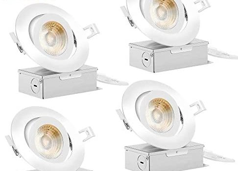 Recessed LED Lighting NICKLED Dimmable 4 inch LED Gimbal Recessed Ceiling Light 12W 3000K 4000K 5000K 3 Colors Changing IC Rated with Junction Box