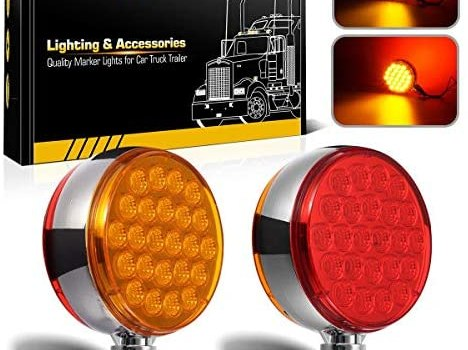 Partsam 2pc 4″ Round Double Face Single Stud Mount Pearl Red/Amber 48 LED Pedestal Fender Reflective Lights w Chrome Housing Sealed Replacement for Volvo/Kenworth/Peterbilt/Freightliner/Western Star