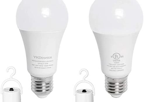 Emergency Lights YKDtronics 5W Backup LED Light Bulbs with Rechargeable Battery for Daily Use, Power Outage, Camping, Hurricane, Disaster Planning, 500Lumens 40W Equivalent Daylight White 5000K 2Pack