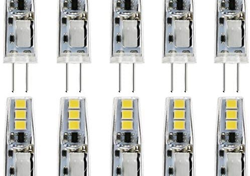 JAUHOFOGEI 10pcs G4 Bi Pin Base 1W LED Bulbs (Daylight White 6000K), 12V AC DC, 10W Glass Halogen Light Bulb Replacement, JC T3 2 Pin Bulb for Under Cabinet Puck Lighting, Non-dimmable, No Flicker