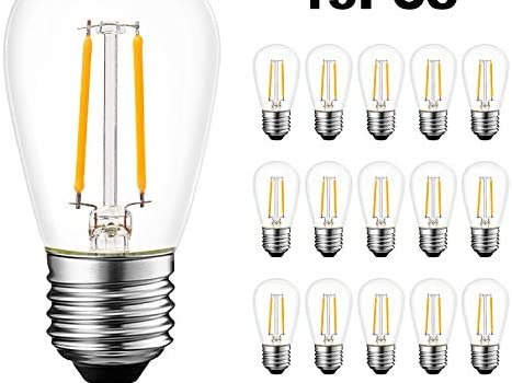Hykolity 15 Pack S14 LED Bulb, Replacement Glass Bulb for Outdoor String Lights, Dimmable, 2W=11W, 2700K Soft White, 200LM, E26 Medium Base, UL Listed