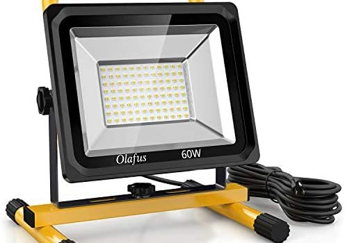 Olafus 60W LED Work Light (400W Equivalent), 6000LM 2 Brightness Modes, IP65 Waterproof Job Site Lighting with Stand for Construction Site, Jetty, Workshop, Garage 5000K Daylight White