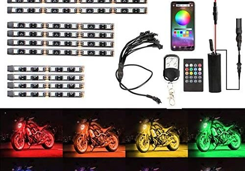 Motorcycle LED Light Kit Strips BaishenglinMotor 12pcs Multicolor RGB Glow Decorative Underglow Neon Ground Effect Atmosphere Light Lamp Strip With APP Remote Controllers for Harley Davidson Suzuki