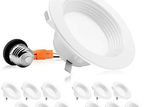 PARMIDA (12 Pack) 4 inch Dimmable LED Recessed Lighting, Retrofit Downlight, 9W (65W Replacement), 600lm, Baffle Trim, Ceiling Can Lights, Energy Star & ETL-Listed, 5 Year Warranty, 2700K