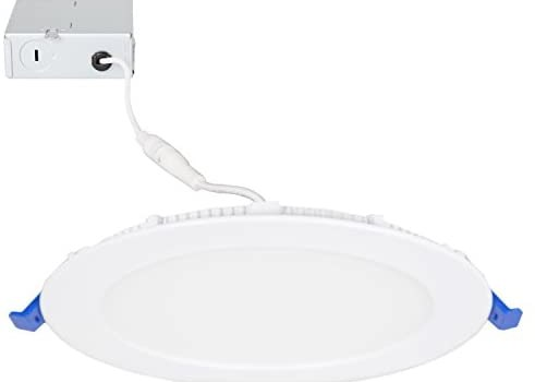 Maxxima 6 in. Dimmable Slim Round LED Downlight, Flat Panel Light Fixture, Recessed Retrofit, 1050 Lumens, Warm White 2700K, 14 Watt, Junction Box Included