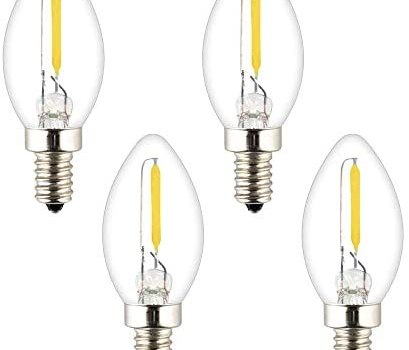 OPALRAY Night Light Bulb, C7 Mini Torpedo Shape, Salt Lamp Replacement Bulb, 0.5W Non-dimmable, E12 Candelabra Base, Clear Glass, Warm White 2700K 70Lumens, 5W-10W Incandescent Equivalent, 4 Pack
