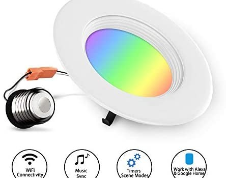 ZASROD Smart Recessed Lighting WiFi 4 Inch LED Color Changing Downlight E26, Work with Alexa & Google Home, Voice and Music Control for Party or Bedroom