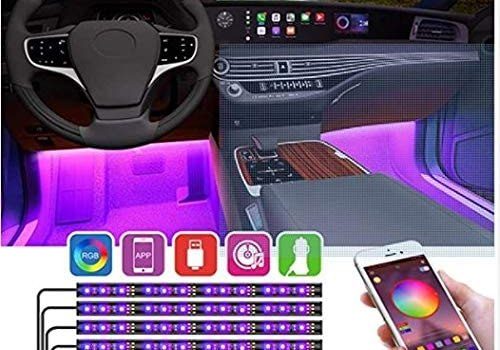 YiLaie Interior Car Lights, Bluetooth App Music Sync RGB LED Car Interior Strip Lights with Car Cigarette Lighter,Multi Colored Dashboard Neon Ambient Lights Kit for Cars
