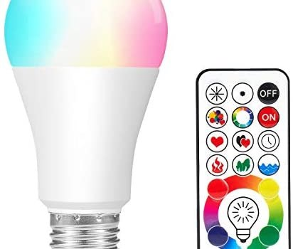 LED Light Bulbs, Color Changing Light Bulb with Remote Control, 10W E26/27 LED Lights with 120 Colors, Dimmable & Timing LED Bulbs, Decorative Mood Light, Perfect for Home Party Holiday and More