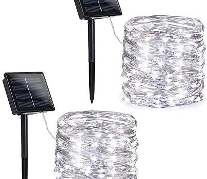 Toodour Solar String Lights, 2 Packs 72ft 200 LED 8 Modes Solar Fairy Lights, Waterproof Outdoor String Lights, Copper Wire Fairy Lights for Garden, Party, Wedding, Holiday Decorations (Pure White)