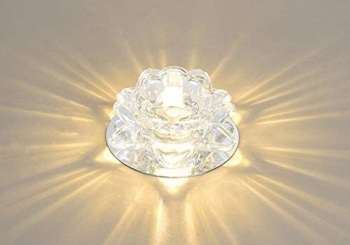 GLBS 5W Creativity Modern Simplicity LED Downlight Background Wall Corridor Living Room Ceiling Panel Light Crystal Iron Home Commercial Recessed Lighting (Color : Warm Light, Size : 5W)