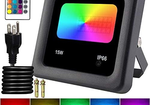 Remon 15W RGB LED Flood Lights, Color Changing Floodlight with Remote Control, 16 Colors 4 Modes Dimmable Wall Washer Light IP66 Waterproof, Indoor Outdoor Decorative Garden for Christmas Garden