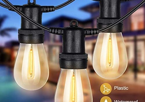 LED Outdoor String Lights 48FT with 15 Plastic Shatterproof String Lights Waterproof Outdoor Decorative String Lights for Party Garden Bar 1W LED Soft White Light