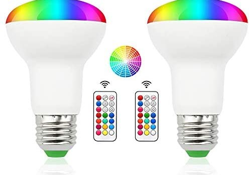 Luxvista 3W RGBW BR20 Color Changing LED Flood Light Bulbs – E26 12 Color Choices Memory Function R20 Dimmable LED Bulb for Bedroom Living Room Bar Garage Cafe KTV Lighting RGB+Warm White (2-Pack)