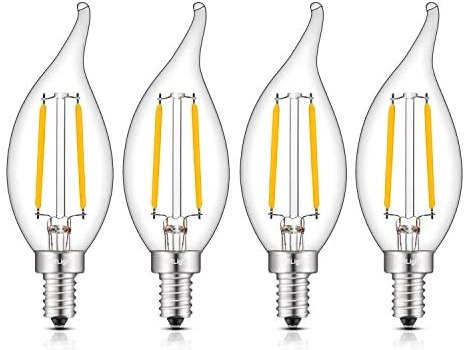 CRLight LED Candelabra Bulb 25W Equivalent 250LM, 3000K Soft White 2W Filament LED Chandelier Light Bulbs, E12 Base Vintage Edison CA11 Clear Glass Candle Bulbs, Non-dimmable Version, 4 Pack