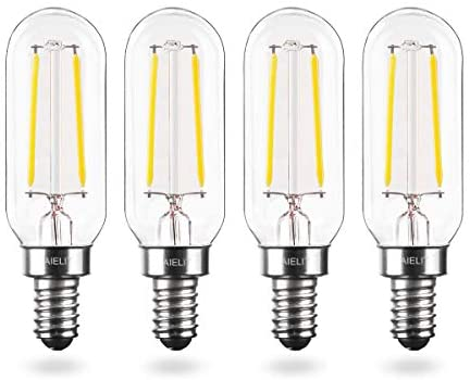 2W T8 Dimmable LED Candle Light Bulb, E12 Small Candelabra Base, 25-Watt Equivalent AIELIT Tubular LED Filament Bulbs for Hallway Porch Foyer Bedroom Cabinet, 200 lm Clear, Bright White 5000K, 4pcs