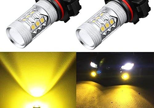 Alla Lighting PSX24W 2504 LED Fog Light Bulbs Yellow Xtreme Super Bright High Power 3030 SMD 12276 3000K Amber 12V LED Replacement for Cars, Trucks