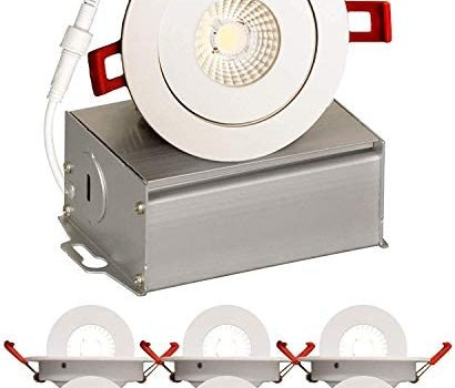 4 inch J-Box Round Ultra Thin Gimbal Tilt Canless Downlight (6 Pack) 6W | 360° Degree of Freedom with 180° of Pitch Angle | 500 LMS| CRI>90 | 120V | Wet Rated IP67 | 5 YR Warranty | 3000K