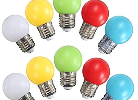 G45 Mini LED Colored Light Bulb, 1W E27 Base Multi-Colored Bulbs, White Yellow Green Red Blue for Bedroom Wedding Halloween Christmas Party Bar Mood Decoration,10 Pack