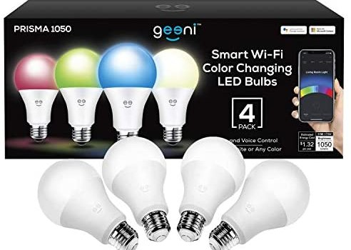 Geeni Prisma 1050 Wi-Fi Multicolor Light Bulbs (2700K), 4-Pack – Dimmable LED Bulbs, 75-Watt Equivalent – No Hub Required – Works with Amazon Alexa, Google Assistant, Microsoft Cortana