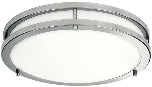 LB72119 LED Flush Mount Ceiling Light, 12 inch, 15W (150W Equivalent) Dimmable 1200lm, 4000K Cool White, Brushed Nickel Round Lighting Fixture for Kitchen, Hallway, Bathroom, Stairwell