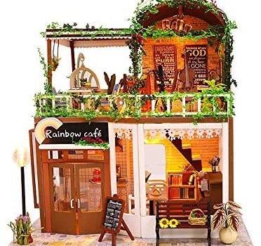 DIY Dollhouse Wooden Miniature Furniture Kit Creative Coffee Bar Room DIY Mini Real House Loft Assembly Building Kit Festival Birthday Gifts for Adults Girls with LED Light Dust Cover Music Movement