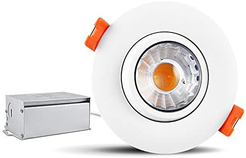 Luxrite 3 Inch LED Gimbal Recessed Light Fixture, 8W, 5000K Bright White, 600 Lumens, Adjustable LED Retrofit Downlight, Dimmable, IC Rated, Energy Star – Perfect for Bathrooms, Kitchens, and Office