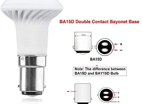 Luxvista 3W 12V Double Ended Contact BA15D LED Bulb – R39/R12 1383 Light Bulb RV LED Reading Bulb, Replacement for 25W Halogen for Camper Boat RV Vehicle Yacht Daylight 6000K (2-Pack)