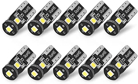 YITAMOTOR 10x 194 168 LED Bulb White Super Bright 175 2825 T10 912 W5W LED Replacement Bulbs for Car Interior Dome Map Door Courtesy License Plate Lights, 6000K, Error Free