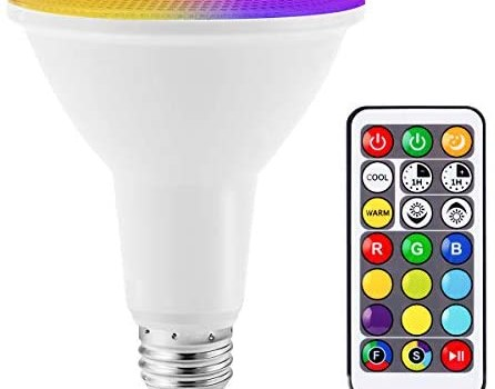JandCase PAR30 RGB LED Flood Lights, Color Changing Light Bulb, 12W Dimmable Recessed Lighting, 100W Equivalent, 1050lm, Remote Control, Indoor/Outdoor Lights for Garden, Stage, E26 Base, 1 Pack