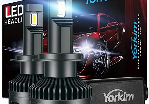 Yorkim H7 Led Headlight Bulbs, Canbus Ready 16000LM Bright Headlight LED Bulb H7 Led Waterproof Headlight Bulb with Silent Turbo Cooling Fan, 6500K Xenon White, Pack of 2