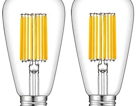 CRLight 15W Dimmable LED Edison Bulb 130W Equivalent 3000K Soft White 1300LM, E26 Medium Base Antique ST64 Lengthened Filament High Brightness LED Bulbs, Smooth Dimming Version, 2 Pack
