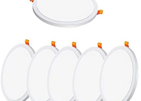 6 Pack LED Recessed Light 6W 3000K Warm Light Round LED Downlight Adjustable Recessed Ultra Thin Ceiling LED Panel Light for Office Corridor Hall Living Room Staircase Balcony
