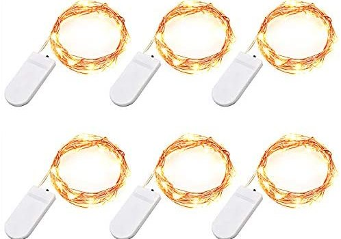 Engilen Fairy Lights 7.2 Feet 20 LED Copper Wire String Lights Decorative Lights Battery Operated, Warm White (6 Pack)