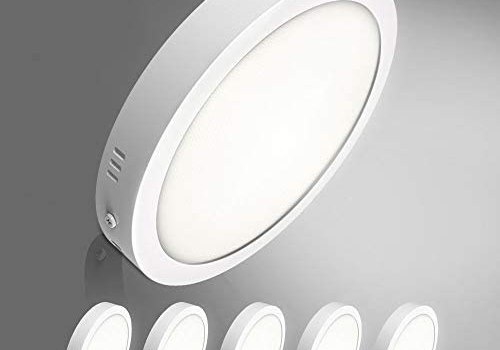 """5Pack W-LITE LED Flush Mount Ceiling Light-24W 11.81"""" Surface Mounted Down Lights, 5000K Cool White, Round Lighting Fixture for Kitchen, Closet, Hallway, Stairwell, Dining Room"""