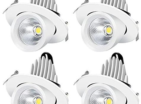 inShareplus Adjustable LED Downlight 10W (75W Equiv), Dimmable, Daylight White 5500K-6500K, CRI80, 800LM, 3Inch Recessed Stretchable LED Trunk Light, 4 Pack