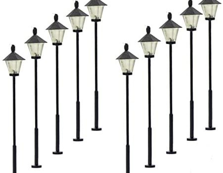 LYM07 10 pcs Model Railway Led Lamppost Lamps Street Lgihts HO Scale 5.7cm 2.24inch 12V New